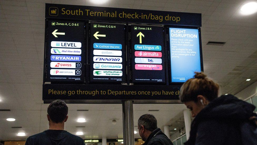 Flights resumed from Gatwick Airport on Friday
