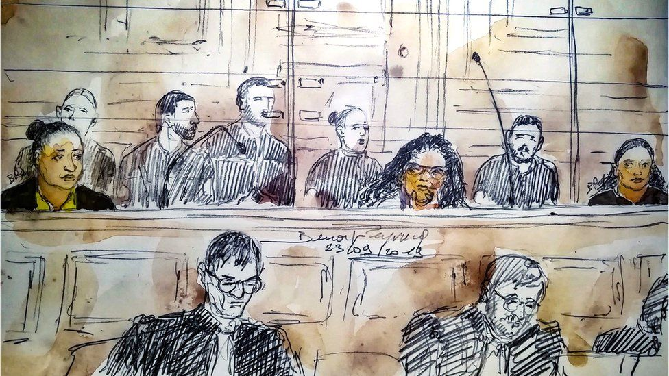 A court sketch during the trial of five women on charges of an alleged plot to detonate a car bomb in front of Paris's Notre-Dame cathedral