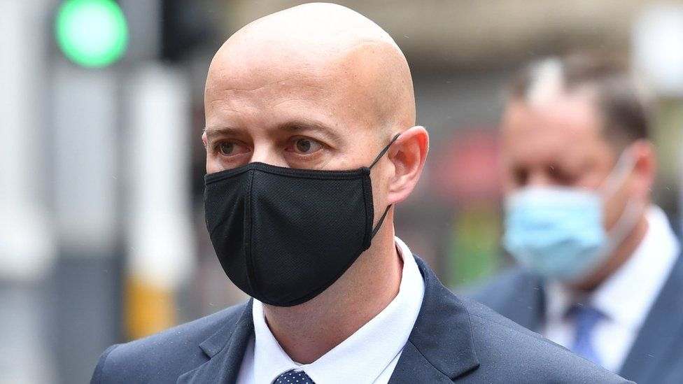 West Mercia Police Constable Benjamin Monk arrives at Birmingham Crown Court to stand trial, accused of the murder, and an alternative charge of manslaughter, of former footballer Dalian Atkinson. Picture date: Tuesday May 4, 2021.