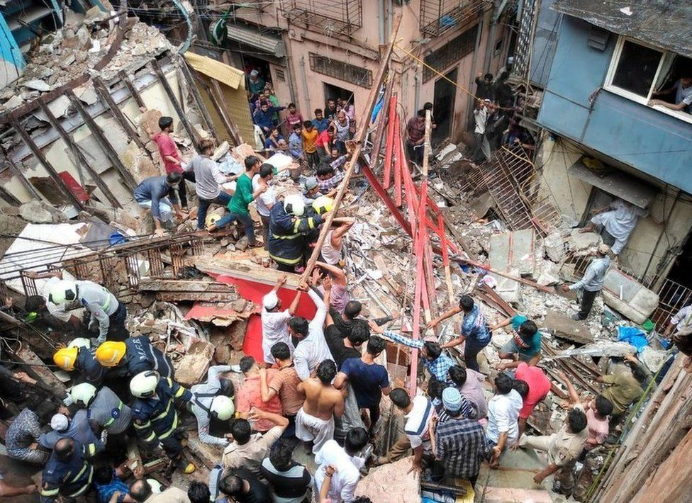 Forty people are feared trapped inside the building in Dongri
