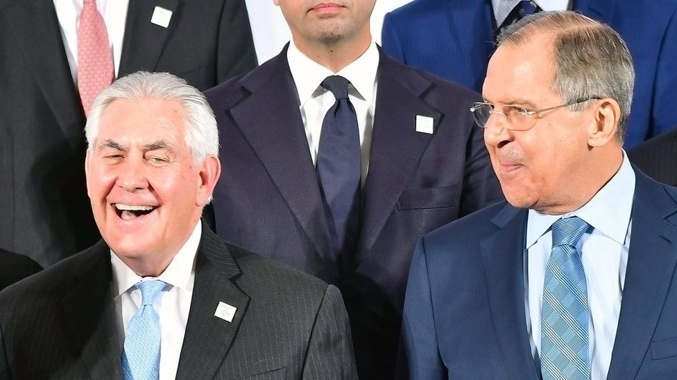 US Secretary of State Rex Tillerson (left) and Russian Foreign Minister Sergei Lavrov in Bonn, 16 Feb 17