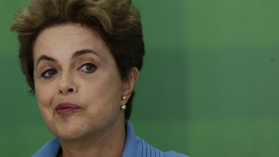 Brazilian President Dilma Rousseff reacts during press conference on 18 April