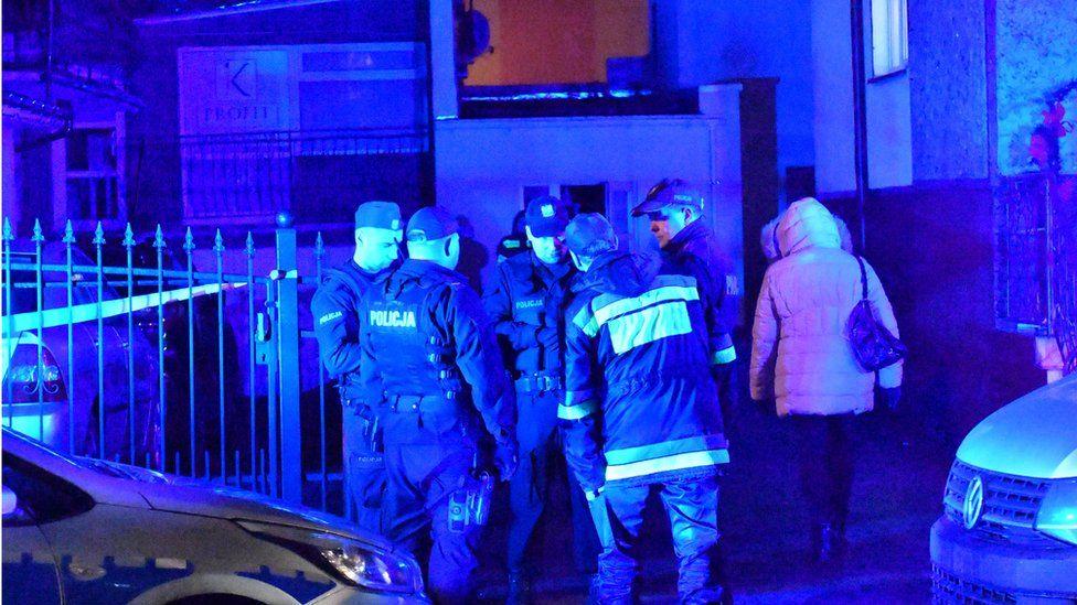 Police secure a scene of a fire in Koszalin, Poland, 04 January 2019.