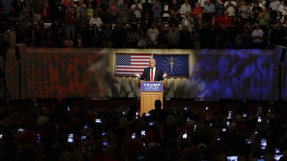 Trump at a rally at The Palladium in Carmel, Indiana