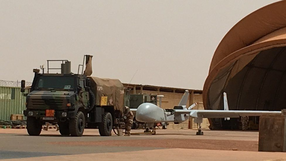 A Harfang drone at the French 'Base 101' in Niamey