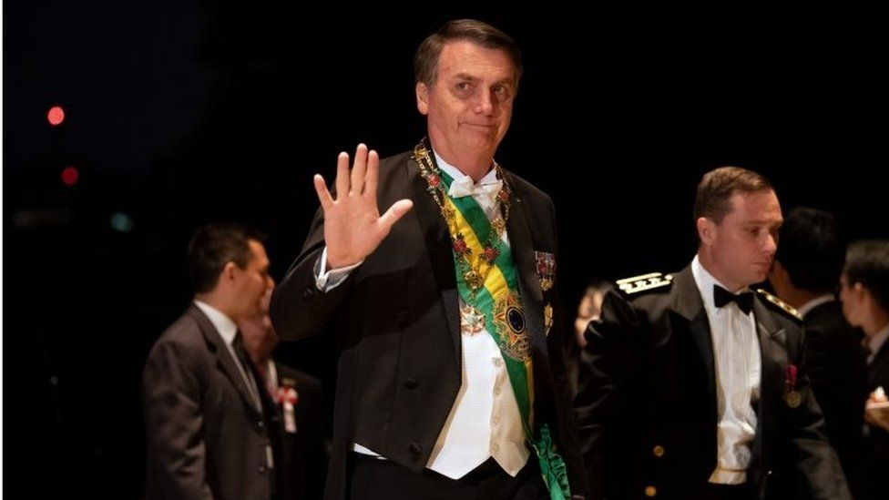 President Jair Bolsonaro arrives at the Imperial Palace for the Court Banquets after the Ceremony of the Enthronement of Emperor Naruhito in Tokyo, Japan October 22, 2019.