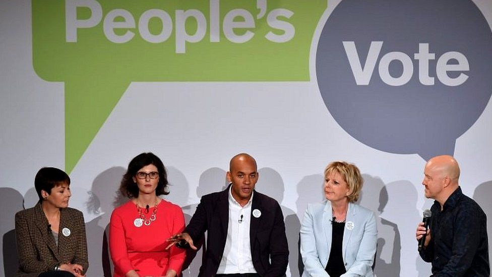 Chuka Umunna with members of the People's Vote campaign