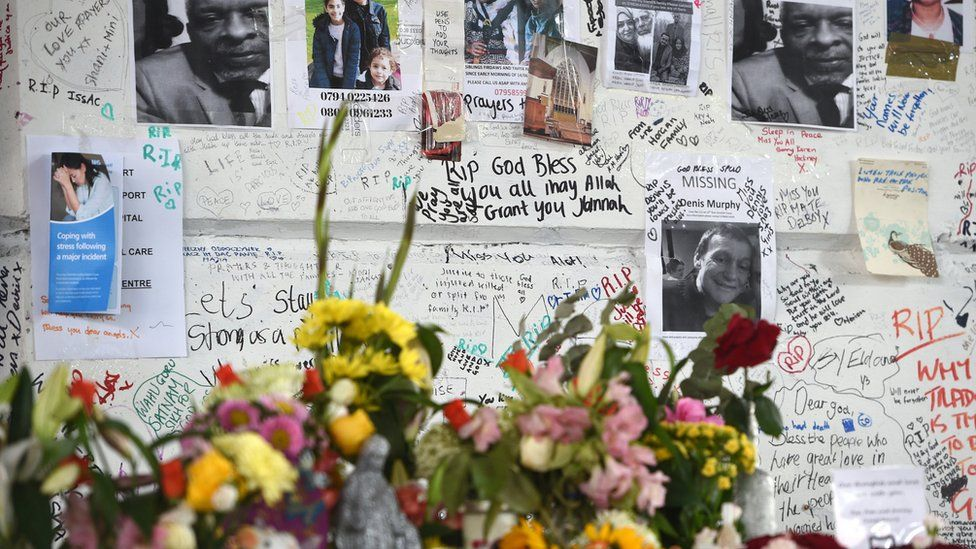 Flowers outside Grenfell Tower