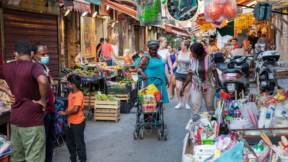 Street scene in Ballarò market, Palermo, Sicily in Italy