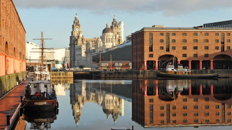The Albert Dock, Liverpool, with the Liver Building in the background.