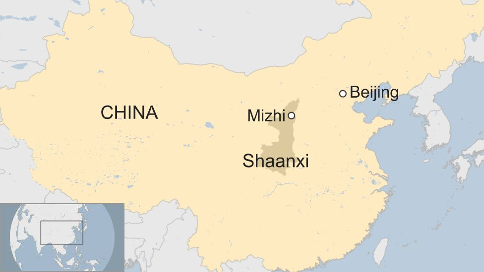 A BBC map showing the location of Mizhi County in Shaanxi province
