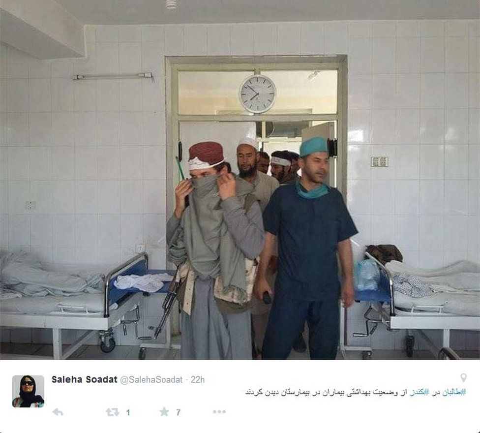 Tweet by Tolo News reporter Saleha Soadat showing Taliban fighters at a Kunduz hospital