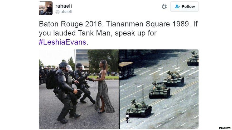 Tweet saying: Baton Rouge 2016 Tiananmen Square 1989 and the two pictures.