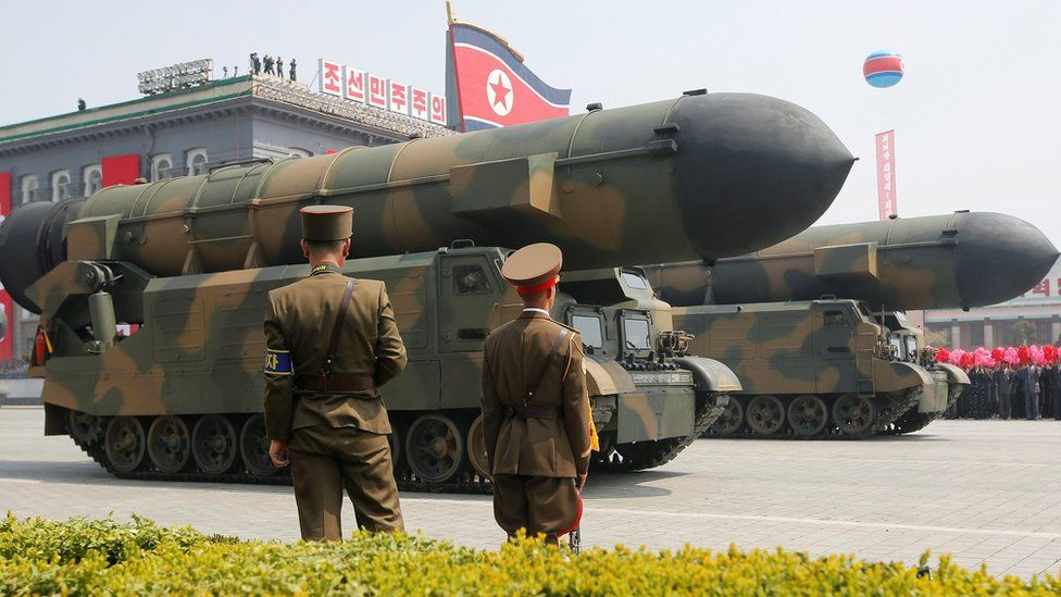 Missiles on display at a military parade in Pyongyang pm 15 April 2017
