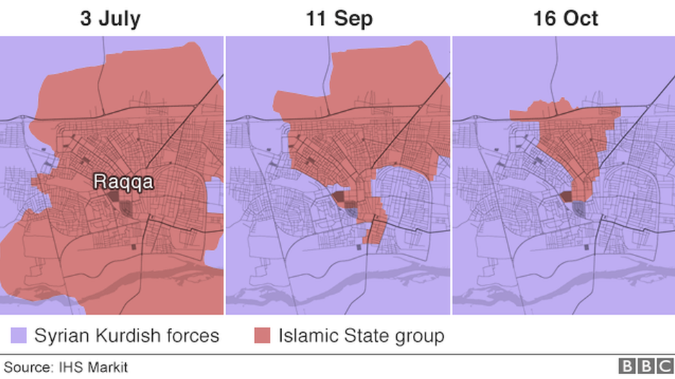Map shows control over Raqqa
