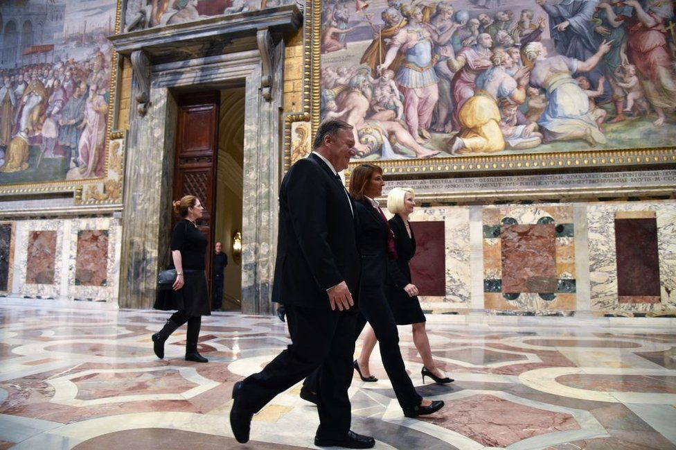 Mr Pompeo visited the Vatican as part of his three-day official trip to Italy