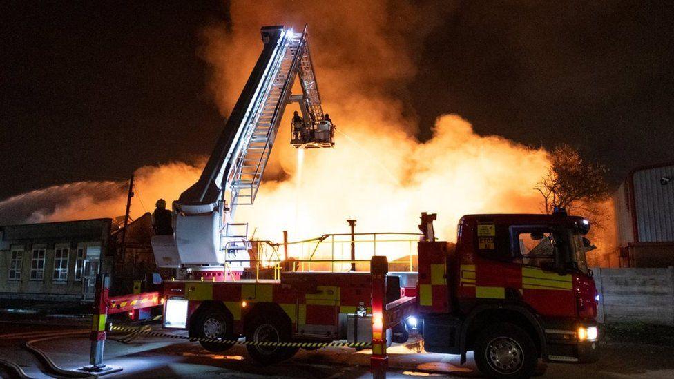 Nottingham Cattle Market fire off Meadow Lane,