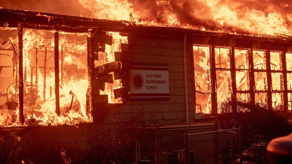 Fire rips through school building