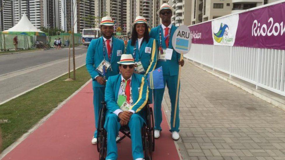 The Aruban Rio 2016 contingent including Shardea Arias de la Cruz and Jesus De Marchena Acevedo