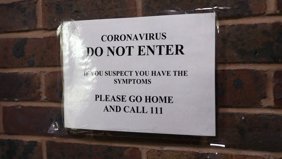 A sign at Haslemere Health Centre in Surrey, which has closed temporarily for cleaning