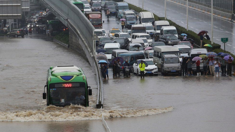 Traffic stopped on a motorway by the floods