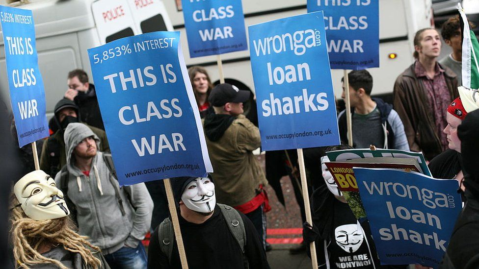 Occupy London highlighted Wonga's sky-high interest rates at a protest on May Day in 2014