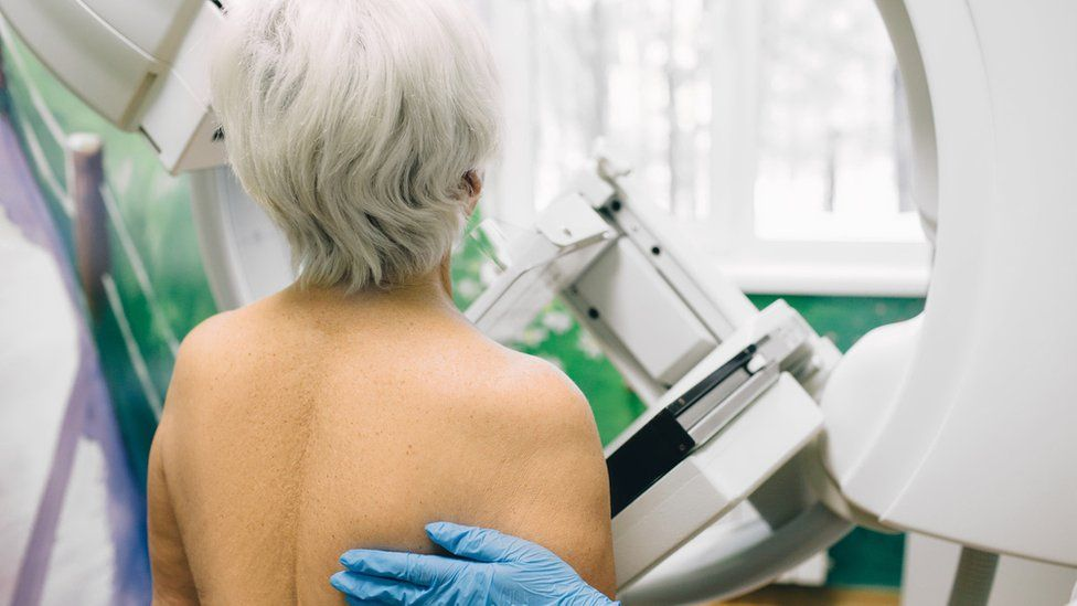 Woman having a mammogram or breast cancer screening