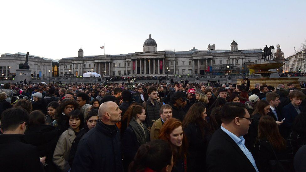 People gathered in Trafalgar Square