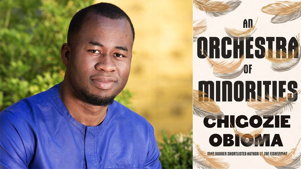 Chigozie Obioma and the book jacket for An Orchestra of Minorities