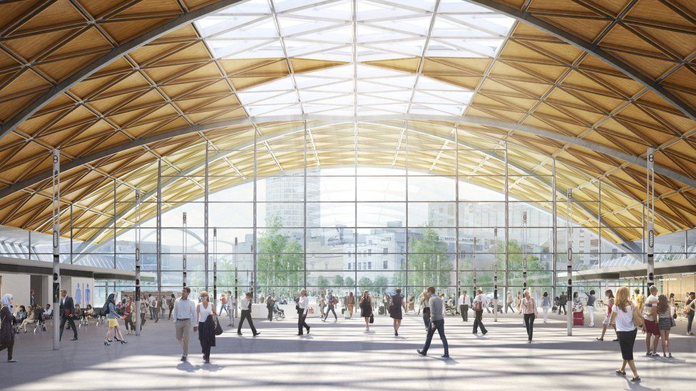 Artists impression of the planned Curzon Street station in central Birmingham