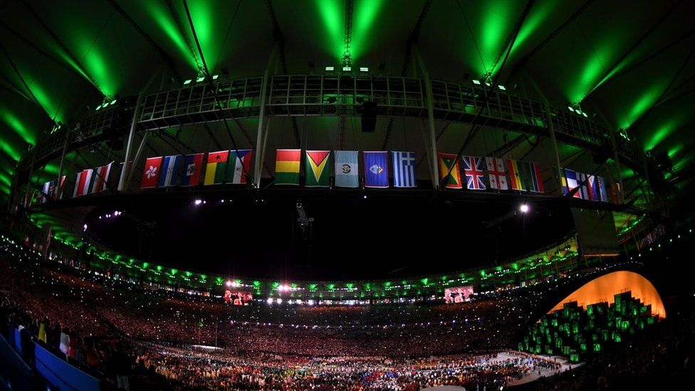 wide shot of Rio 2016 opening ceremony