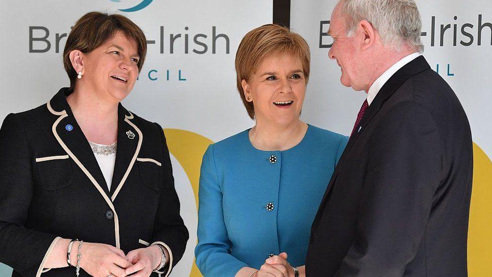Nicola Sturgeon, Arlene Foster a Martin McGuinness