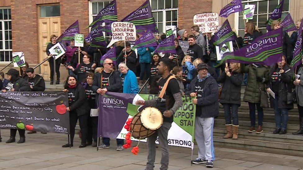 Striking teaching assistants outside Derby City Council