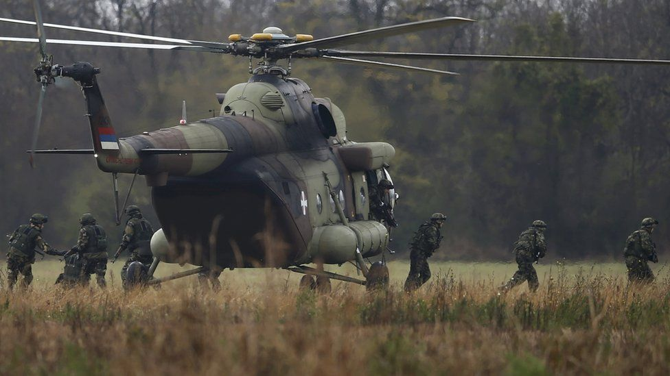 Serbian soldiers (pictured) on exercises with Russians, 7 Nov 16