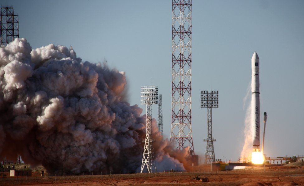 A rocket carrying the Spektr-R radio astronomy observatory blasts off into space on 18 July, 2011