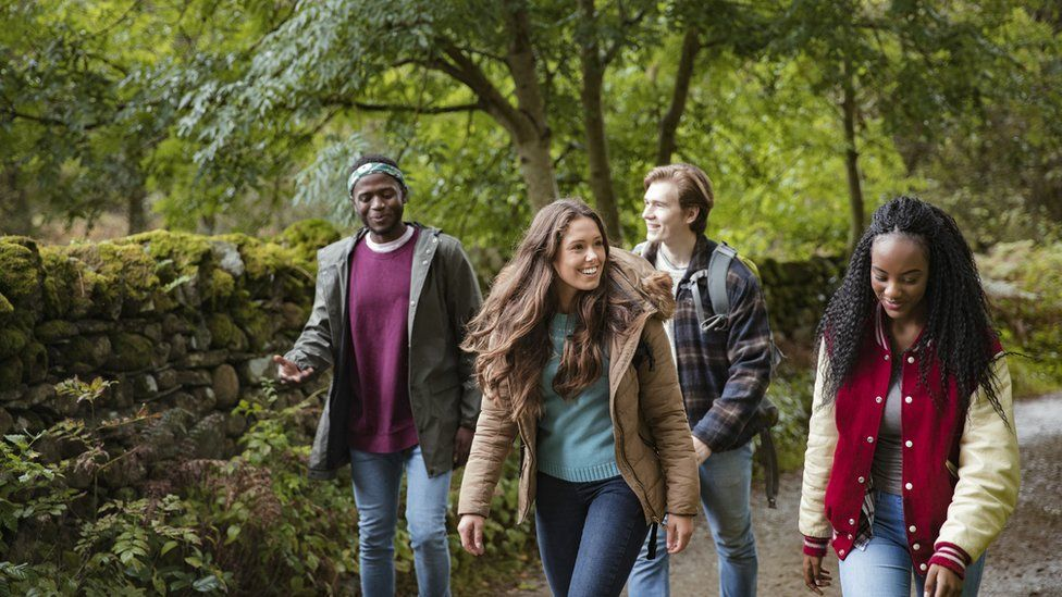 young people walking
