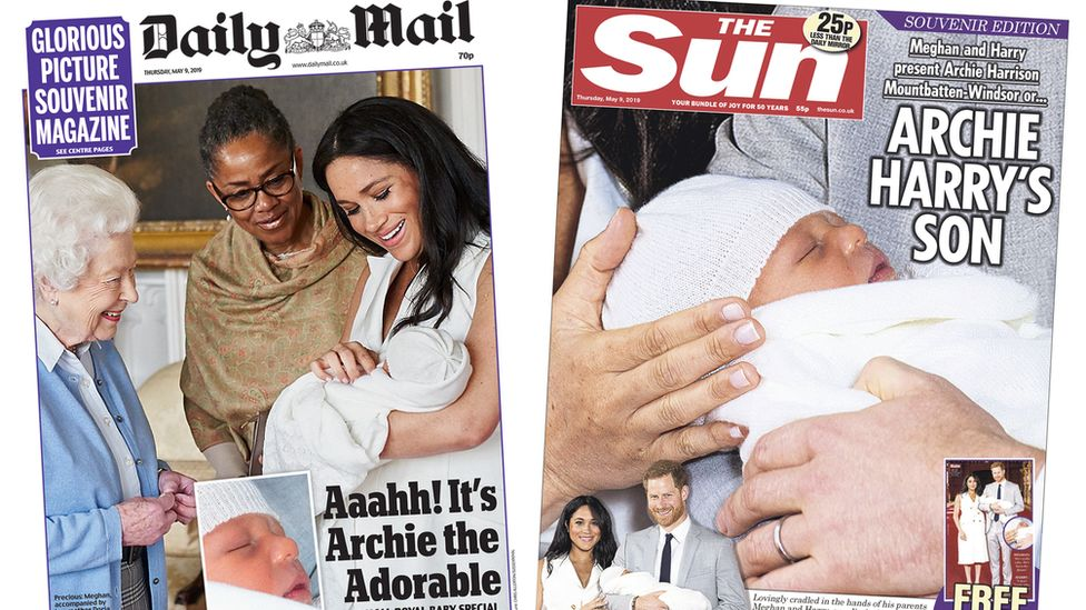 Composite image featuring Daily Mail and Sun front pages