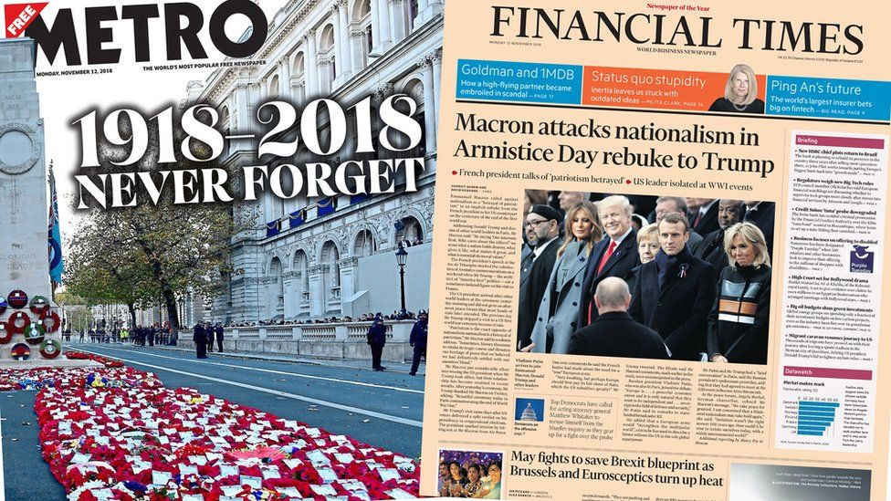 Newspaper front pages for November 12, 2018