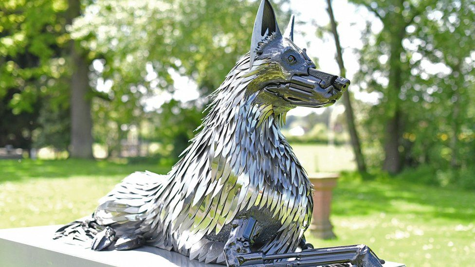 Worcester police dog monument created from knives and blades
