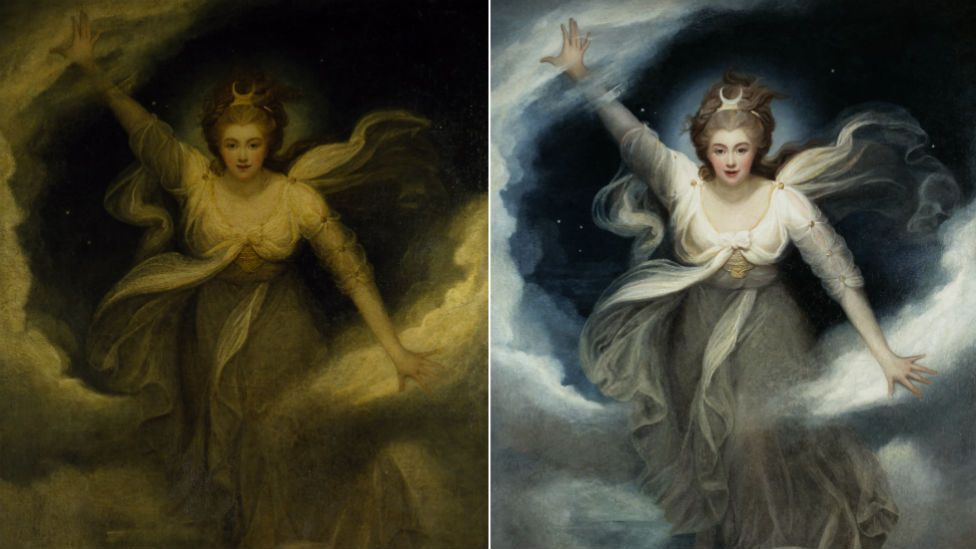 Before and after pictures of a Maria Cosway painting of Lady Georgiana, Duchess of Devonshire