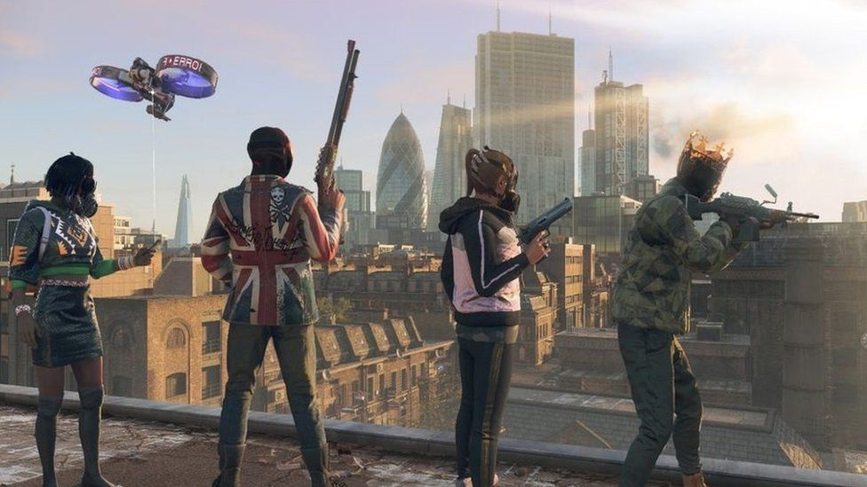 Characters in the game overlooking the London skyline