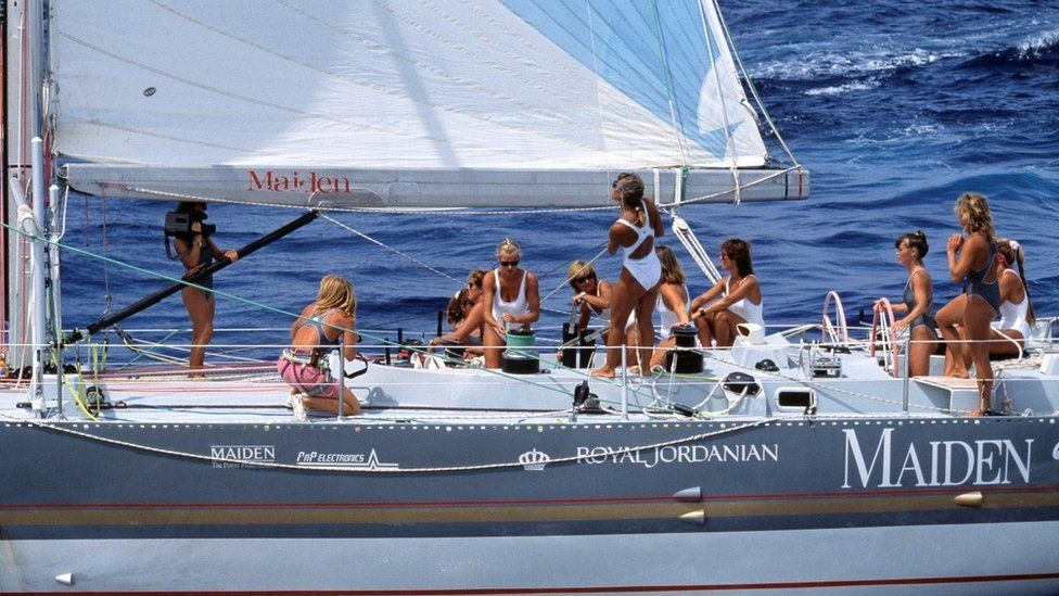 The all-female crew, pictured during the Whitbread Round the World Race