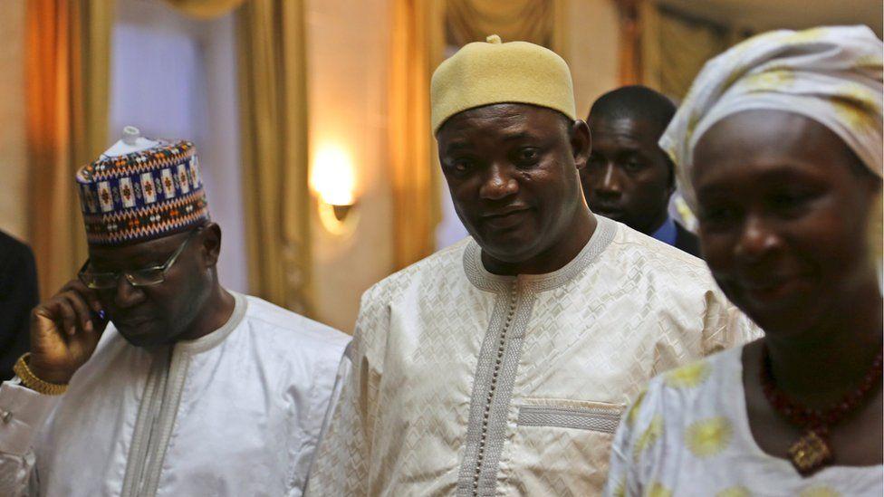 Gambia's President Adama Barrow is seen in Dakar, Senegal on 20 January
