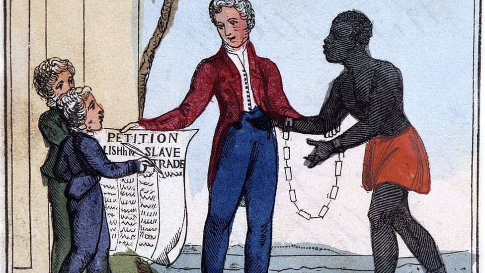 A shackled slave pleading with his master, while two children hold up the petition to abolish the slave trade