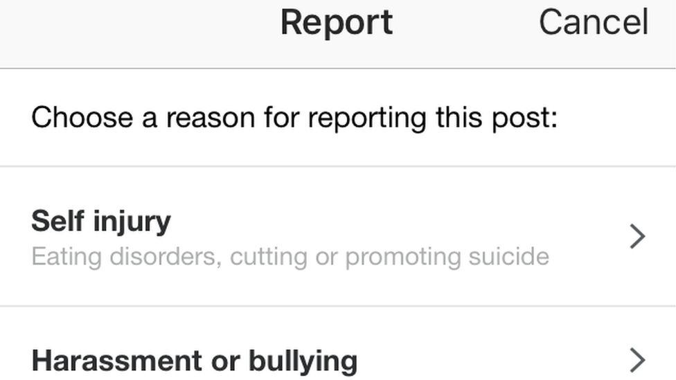 Instagram reporting a post form