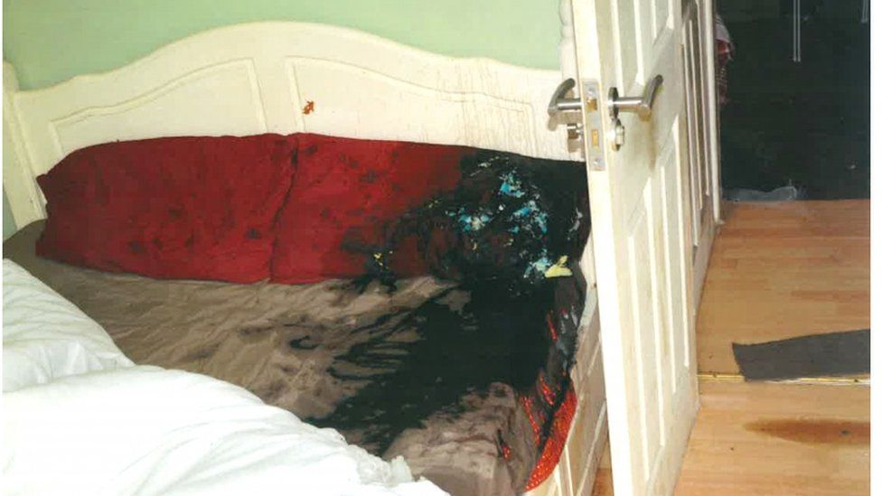 The bed in which Daniel Rotariu was attacked
