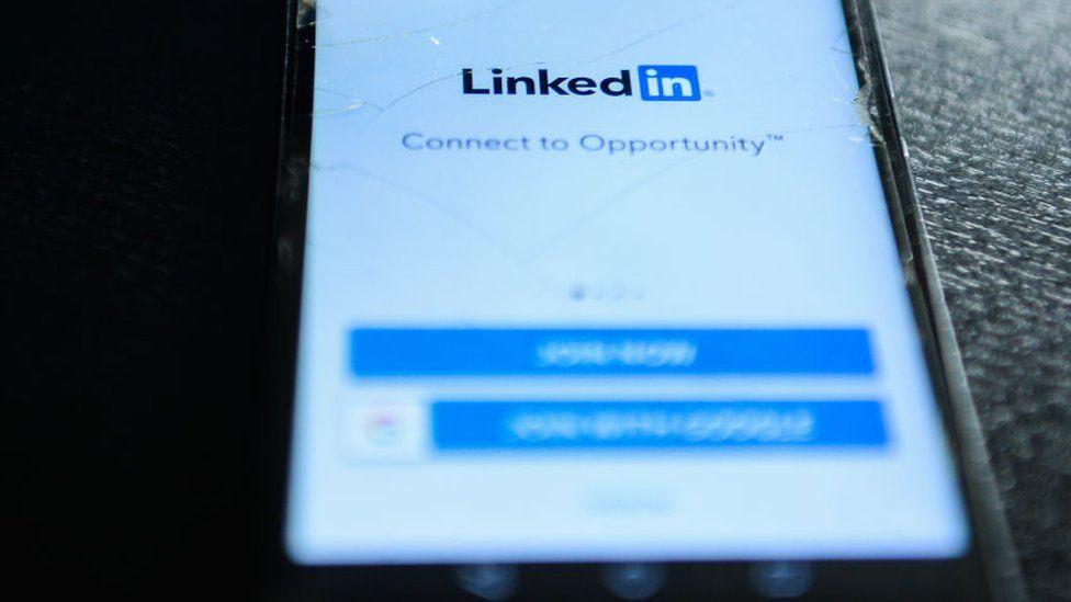 LinkedIn logo on mobile phone