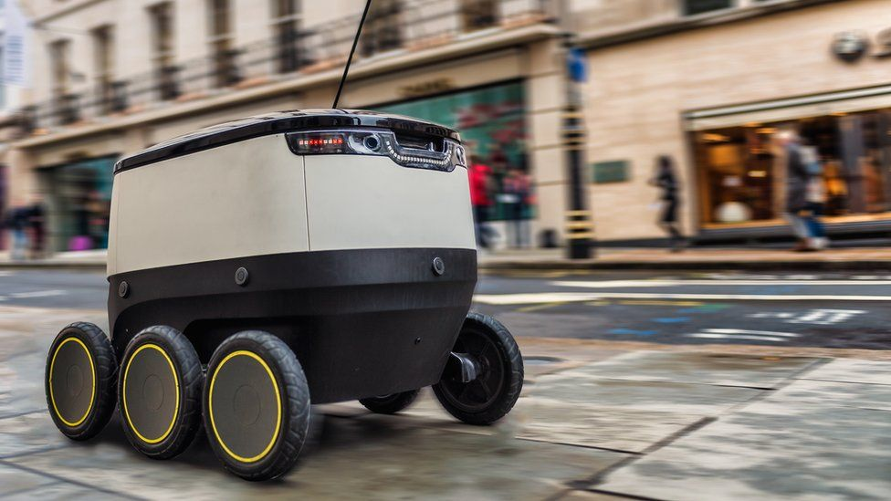 Self-driving robot navigating London street