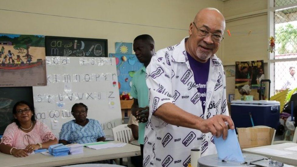 Suriname's President Desi Bouterse of the ruling National Democratic Party casts his vote during parliamentary elections, in Paramaribo, Suriname, May 25, 2020.