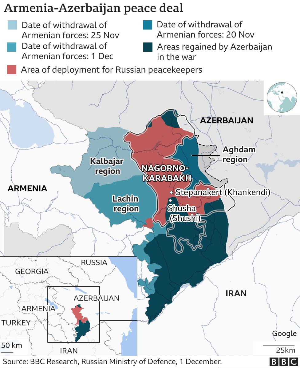 Karabakh peace deal map